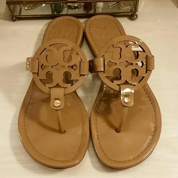 b498fe558ece2a Tory Burch Miller Sandals in Patent Leather Tan. M 5a80c348331627cc69f785cc